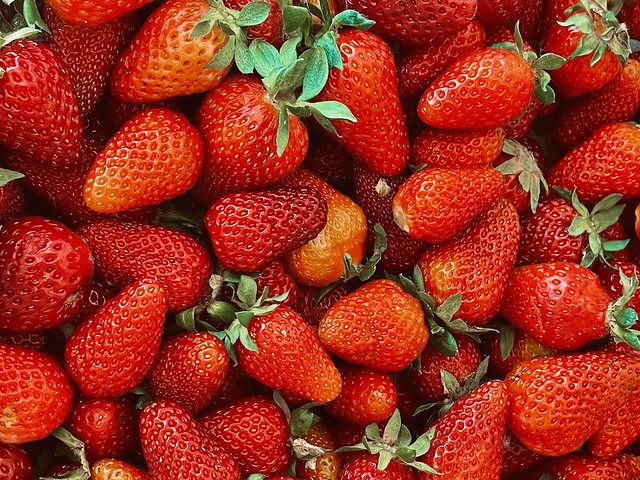 Close-up of a bunch of strawberries