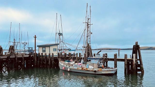 An old boat at a dock in Bodega Bay California