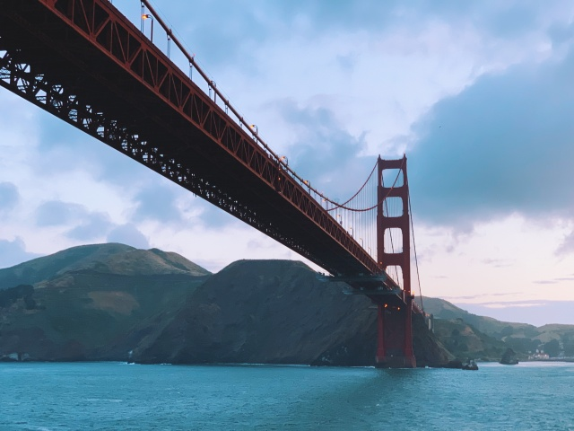 photo of the Golden Gate Bridge from below