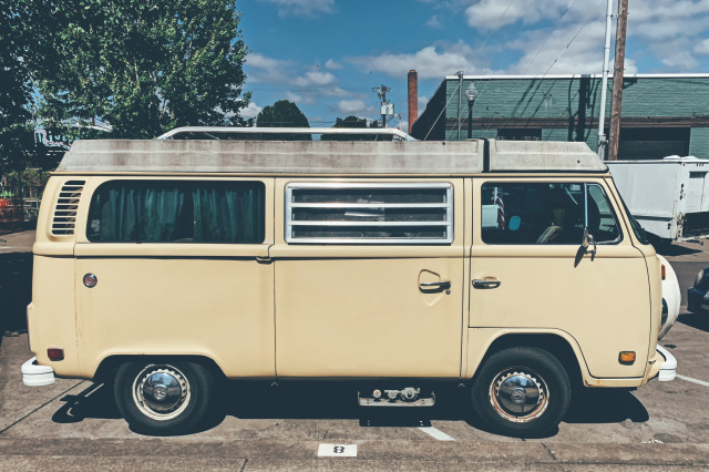 photo of a 60s volkswagon campervan