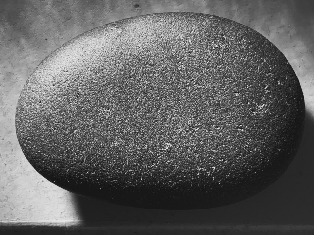 Black and white closeup of a smooth rock