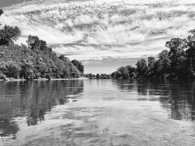 Black and white picture of Willamette River