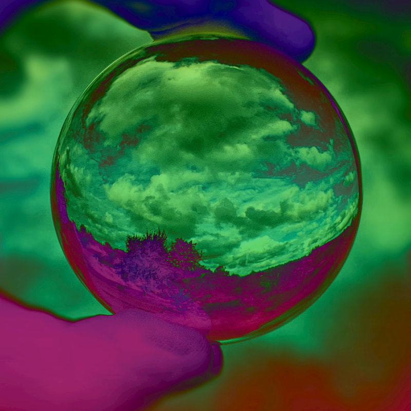 clouds in a glass ball with psychedelic colors